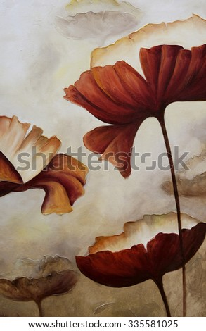 Painting poppies close up vertical canvas - stock photo