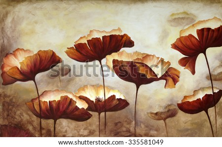 Painting poppies with texture - stock photo