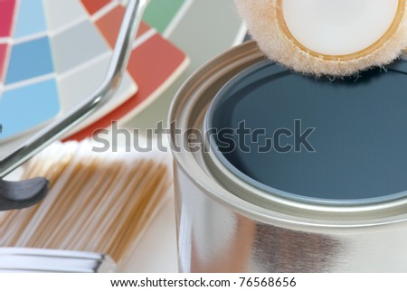 Painting project supplies - stock photo
