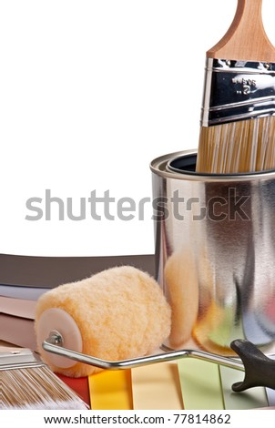 Painting project supplies and color choices - stock photo