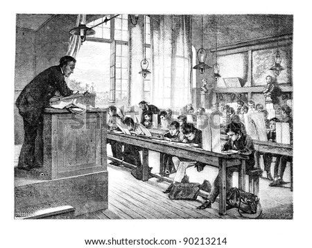 Painting Salon of 1874; paint. - A drawing lessons at school Cochin, by A. Truph?me. - The Drawing Hernault, vintage engraved illustration. Magasin Pittoresque 1875. - stock photo