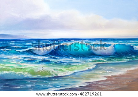painting seascape, wave, illustration,picture acrylic paints on a canvas.