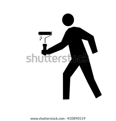 painting services design - illustration of a man painting the wall (painter painting with ladder, silhouette of a painter, painting services symbol) - stock photo