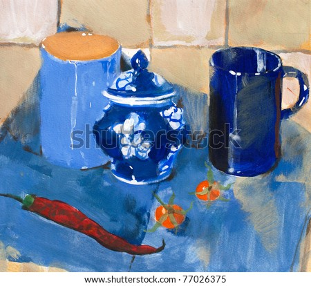 Painting. Still life with blue cups and pepper on a blue napkin - stock photo