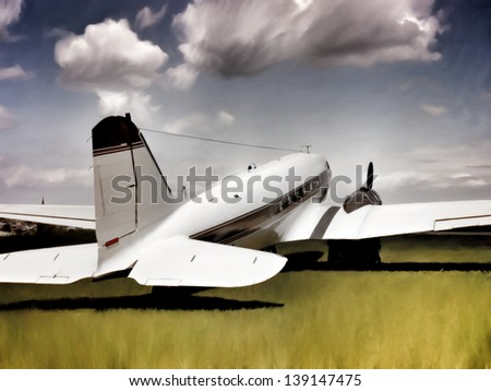Painting-style illustration of an ancient transport aircraft (twin-engined DC-3) laying on a ground of grass, referring to concepts such as retro airplanes, aviation, transportation and travel. - stock photo