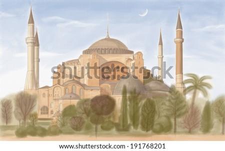 painting style illustration of Hagia Sophia - stock photo