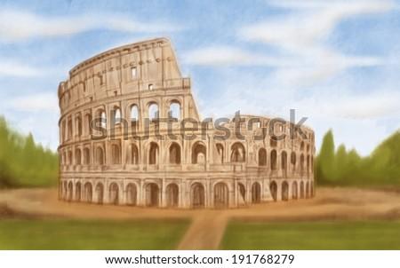 painting style illustration of Roman Colosseum - stock photo