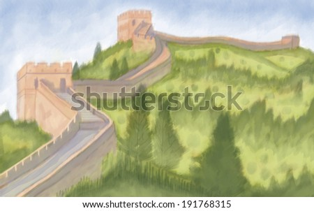 painting style illustration of The Great wall of China
