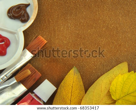 Painting Supplies With brown cloth background - stock photo