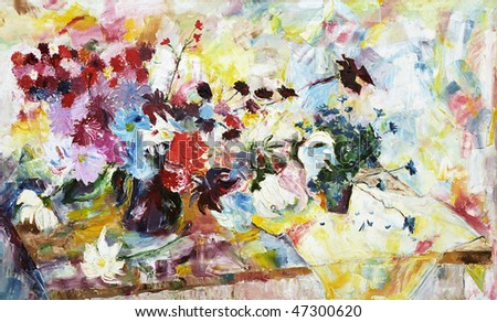 Painting, the big bouquet of flowers