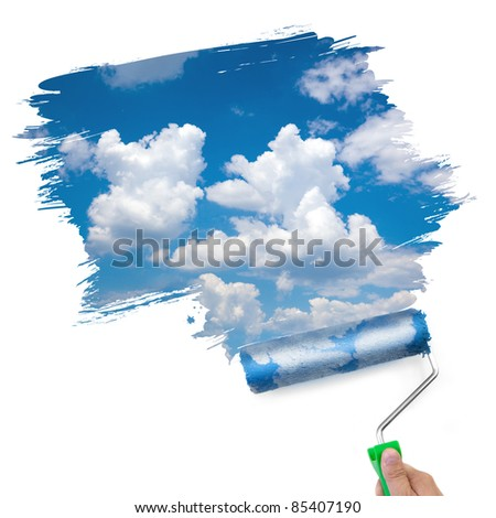 Painting the clean sky / ecology consept / isolated on white - stock photo