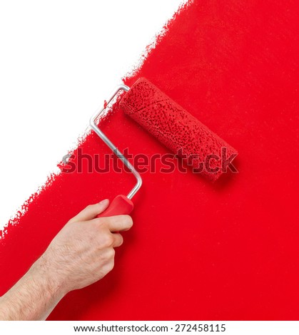 Painting the wall - stock photo