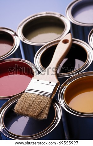Painting Time! Colorful paints and brush - stock photo