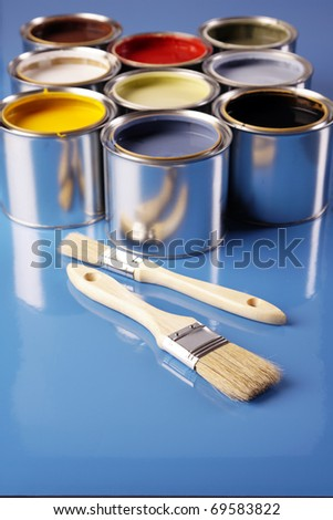 Painting time! Paint can and brushes