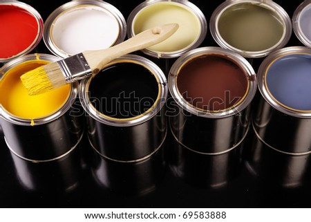Painting time! Paint can and brushes - stock photo