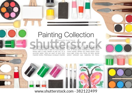 painting tools and other essentials on white background top view. flat lay frame composition with copy space  - stock photo