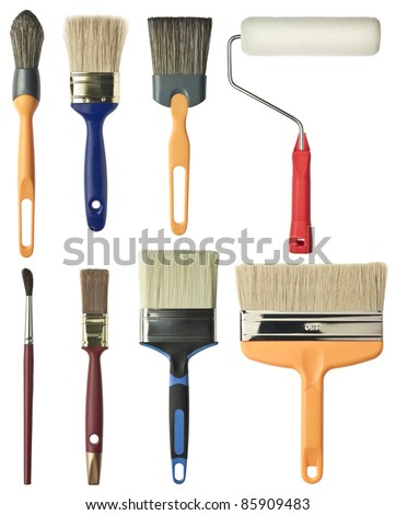 Painting tools. Brushes and roller. - stock photo
