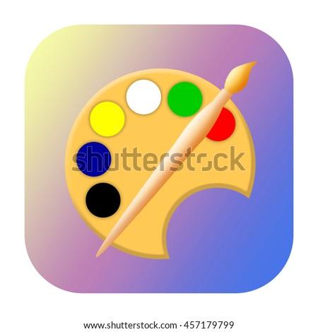 Painting tools icon - stock photo