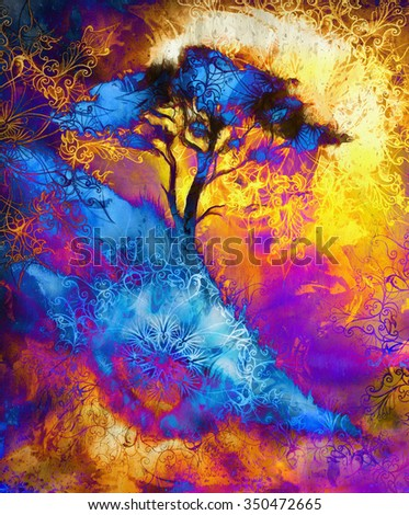 Painting tree, wallpaper landscape and ornamental mandala. Oriental background collage. Blue, black, yellow, and violet color - stock photo
