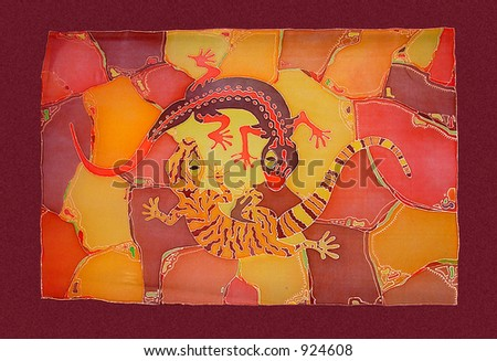 Painting two lizard on the silk - stock photo