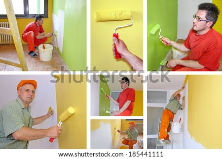 Painting walls, interior decoration - collage - stock photo