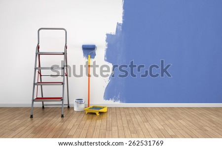 Painting walls of an empty room. Renovation house. 3D rendering - stock photo