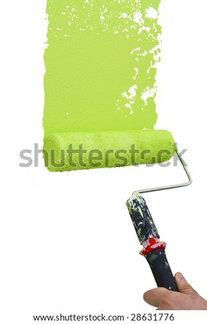 painting white wall with vibrant green color - stock photo