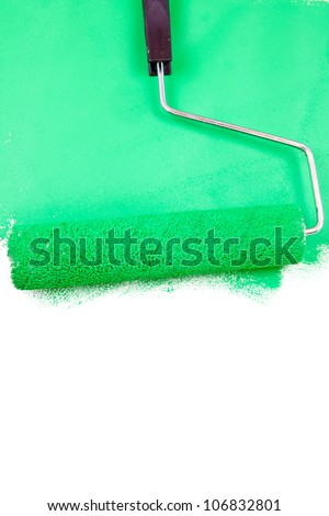 Painting with a green color on a white wall