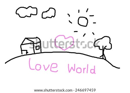 Painting with a love for the world as a child. - stock photo