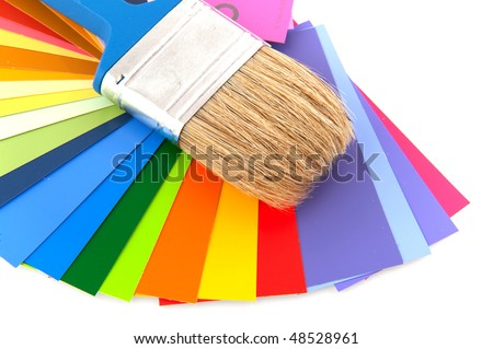 Painting with brush and many color samples to choose - stock photo