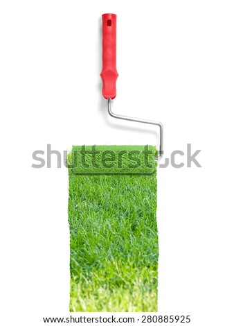 Painting with grass - stock photo