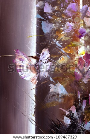 Painting with oil paints - stock photo