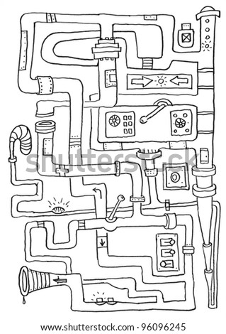 painting with pipes - stock photo