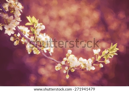 painting with plum tree twig with flowers composition - stock photo