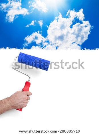Painting with sky - stock photo