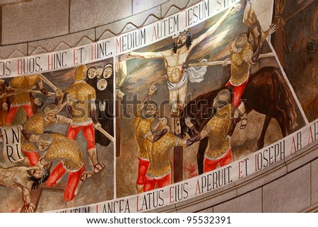 Paintings behind the altar and beneath the dome of the Basilica of Monte de Santa Luzia in Viana do Castelo, near Porto in Portugal, representing the passion and death of Christ - stock photo