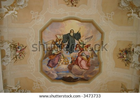 paintings on church ceiling - stock photo
