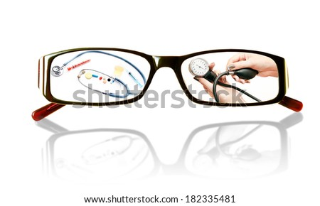 Paintings on the glasses with a medical theme and mirror image on a white background