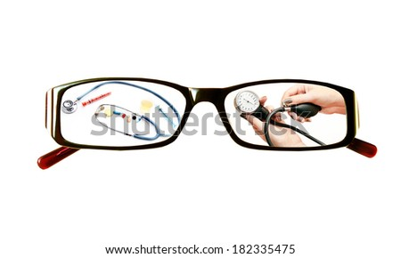 Paintings on the glasses with a medical theme  on a white background