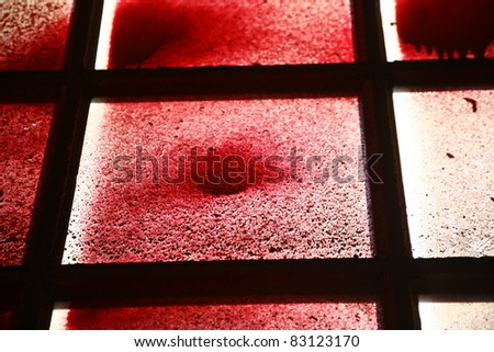 paints a beautiful image of the windows of the factory - stock photo