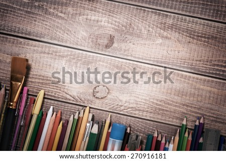 Paints and pencils for children's creativity - stock photo