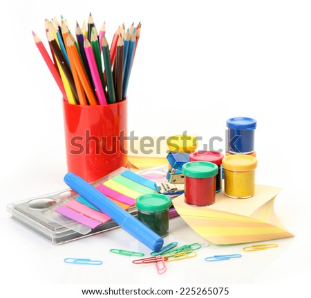 paints and pencils for drawing - stock photo