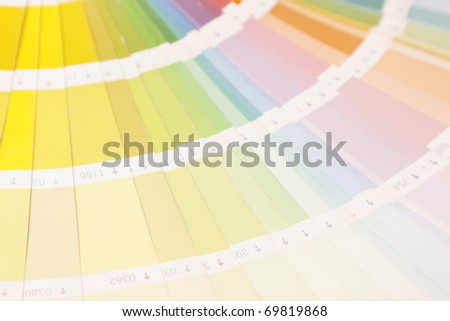 Paints, color picker and paint cans on white background - stock photo