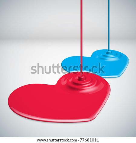Paints Dripping Hearts - stock photo