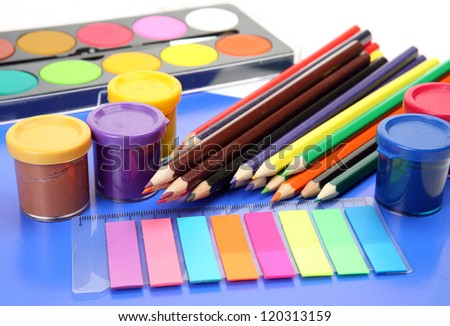 Paints for drawing and color pencils