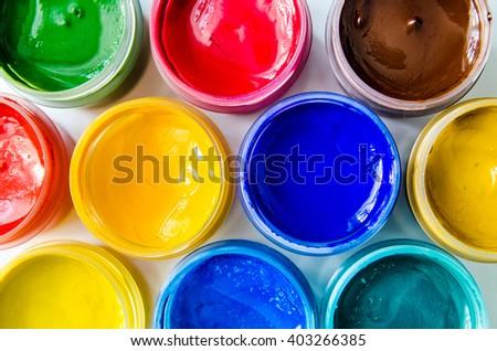 paints gouache top view closeup - stock photo