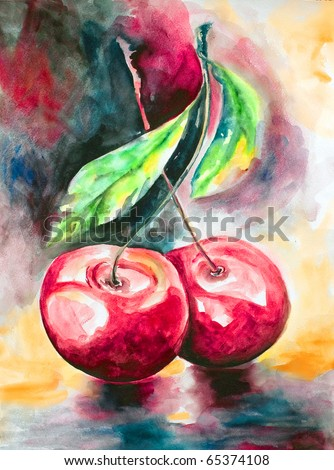 Pair bright ripe cherries on one branch with leaves drawn by water color colors on a water color paper - stock photo