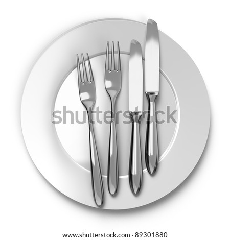 pair cutlery and dishes top view
