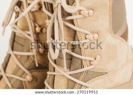 pair desert boot Isolated on a white background - stock photo