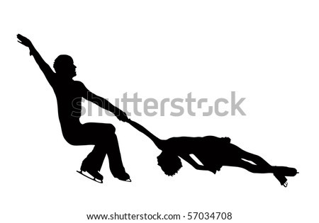 Pair figure skaters silhouettes, black isolated on white background